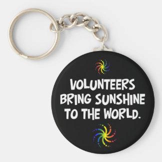 Volunteers bring sunshine to the world basic round button key ring