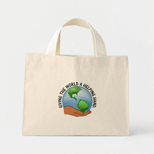 Volunteers give the world a helping hand mini tote bag