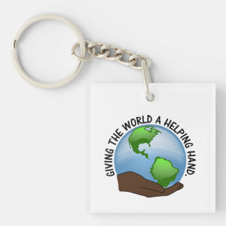 Volunteers give the world a helping hand Single-Sided square acrylic key ring