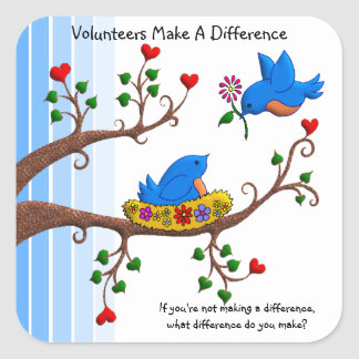 Volunteers Make A Difference Square Sticker