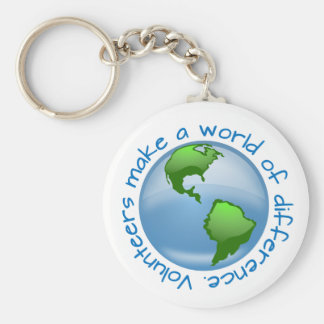 Volunteers Make a World of Difference Basic Round Button Key Ring