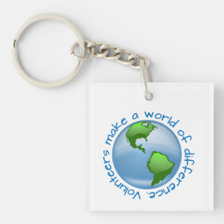 Volunteers make a world of difference Single-Sided square acrylic key ring