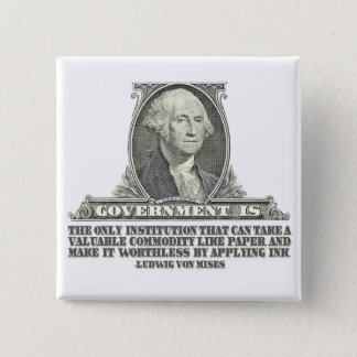 Von Mises on Paper Money 15 Cm Square Badge