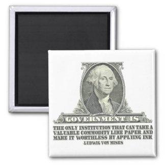 Von Mises on Paper Money Square Magnet