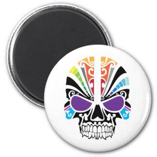 Voodoo Rainbow Skull 6 Cm Round Magnet