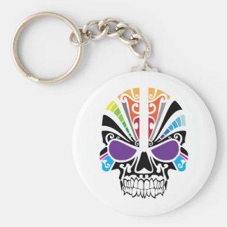 Voodoo Rainbow Skull Basic Round Button Key Ring