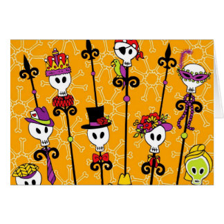 VOODOO SKULL MARDI GRAS PARTY CARD
