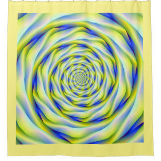 Vortex in Blue and Yellow Shower Curtain