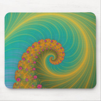 Vortex on Poppy Row in Orange and Turquoise Mouse Pads