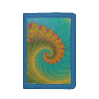 Vortex on Poppy Row in Orange and Turquoise Wallet