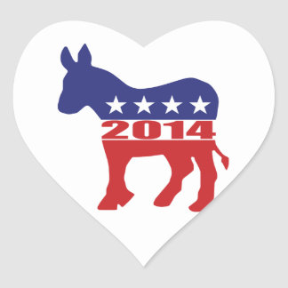 Vote 2014 Democratic Party Heart Sticker
