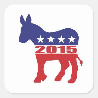 Vote 2015 Democratic Party Square Sticker