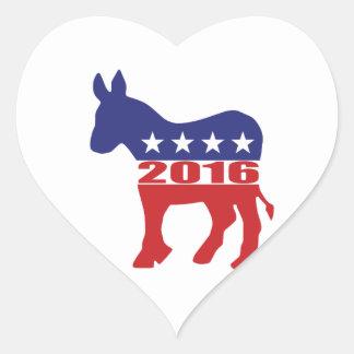 Vote 2016 Democratic Party Heart Sticker