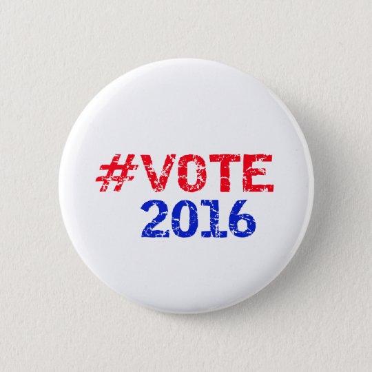 Vote 2016 Distressed Hashtag 6 Cm Round Badge