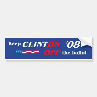 Vote Against Clinton '08 Bumper Sticker