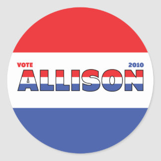 Vote Allison 2010 Elections Red White and Blue Round Sticker
