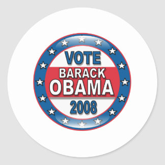 Vote Barack Obama 2008 Classic Round Sticker
