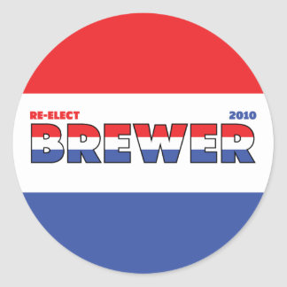 Vote Brewer 2010 Elections Red White and Blue Round Sticker