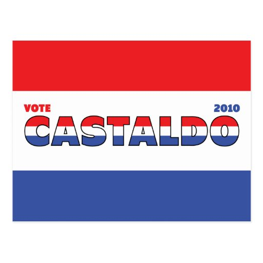 Vote Castaldo 2010 Elections Red White and Blue Post Card