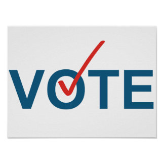 Vote Checkmark Red Blue Political Election Poster