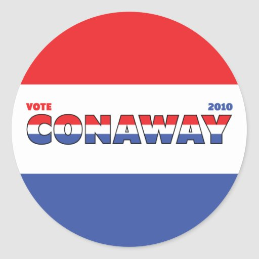 Vote Conaway 2010 Elections Red White and Blue Round Stickers
