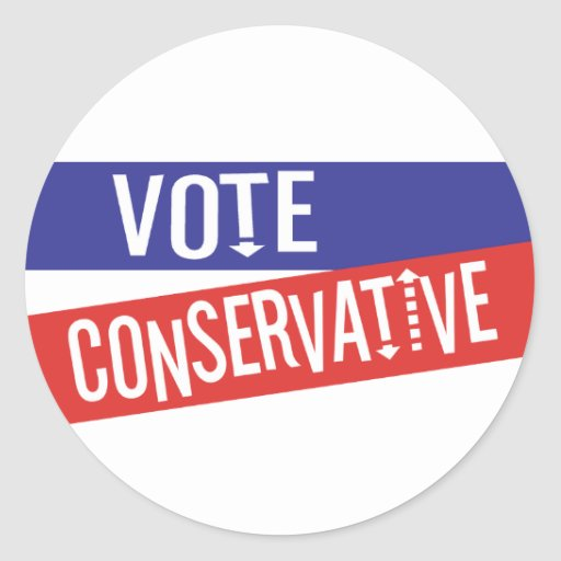 VOTE Conservative Red and  Blue Sticker
