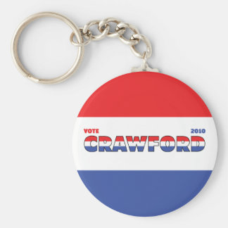 Vote Crawford 2010 Elections Red White and Blue Keychain