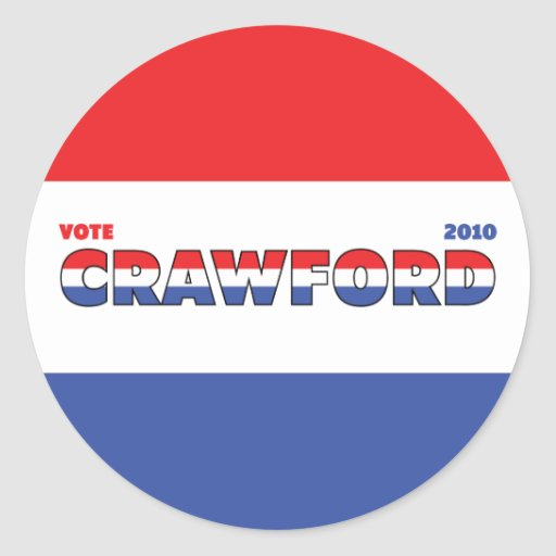 Vote Crawford 2010 Elections Red White and Blue Round Sticker