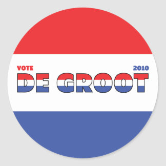 Vote De Groot 2010 Elections Red White and Blue Sticker