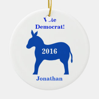 Vote Democrat 2016 Name Personalized Blue Christmas Ornament