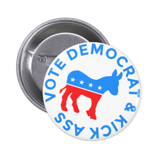 Vote Democrat and Kick Donkey Political Funny 6 Cm Round Badge