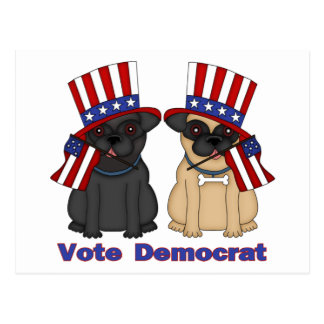 Vote Democrat Black and Fawn Pug Tees, Gifts Postcard