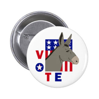 VOTE DEMOCRAT DONKEY 6 CM ROUND BADGE