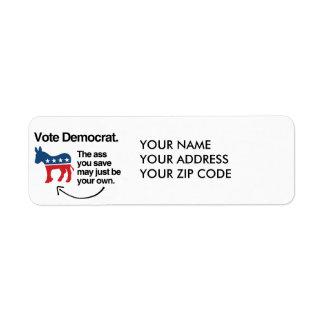 VOTE DEMOCRAT -.png Return Address Label
