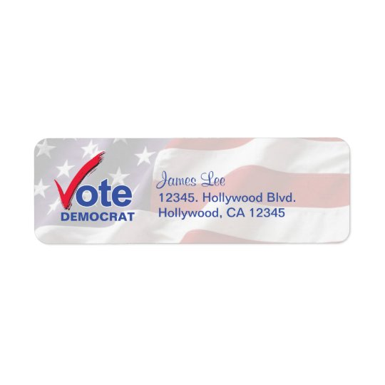 Vote Democrat Return Address Labels
