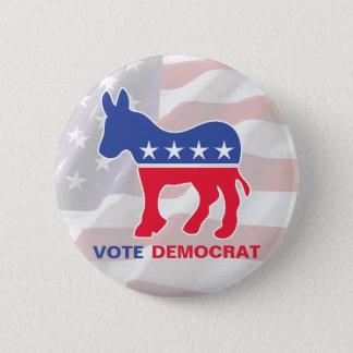Vote Democrat With Donkey 6 Cm Round Badge