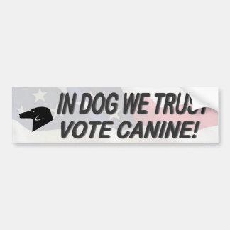 Vote Dog with American Flag Bumper Sticker