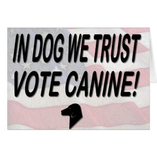 Vote Dog with American Flag Greeting Card