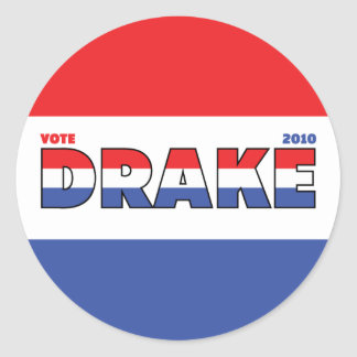 Vote Drake 2010 Elections Red White and Blue Sticker