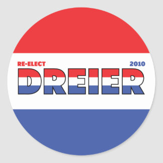 Vote Dreier 2010 Elections Red White and Blue Round Stickers