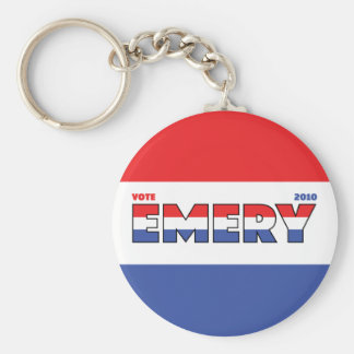 Vote Emery 2010 Elections Red White and Blue Basic Round Button Key Ring