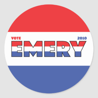 Vote Emery 2010 Elections Red White and Blue Round Sticker