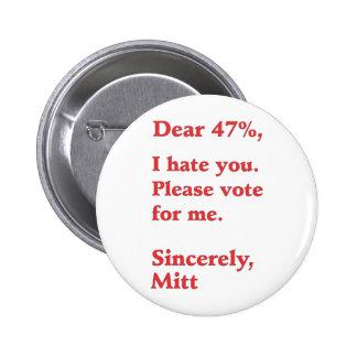 Vote for Barack Obama Mitt Romney Hates You 47% Pinback Buttons