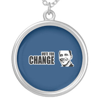Vote for change Obama Bumper 5 copy.png Round Pendant Necklace