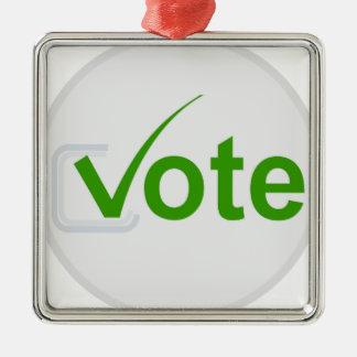 Vote for Green! Silver-Colored Square Decoration