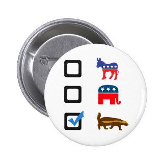 Vote for Honey Badger 6 Cm Round Badge