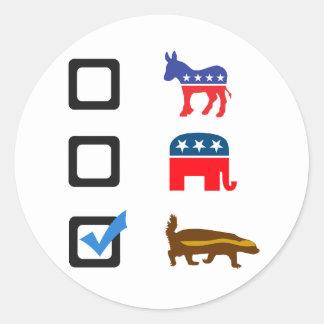 Vote for Honey Badger Round Sticker