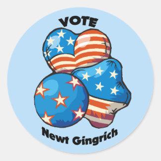 Vote for Newt Gingrich Round Sticker