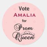 Vote for Prom Queen Round Sticker