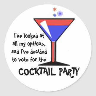Vote for the Cocktail Party! Round Sticker